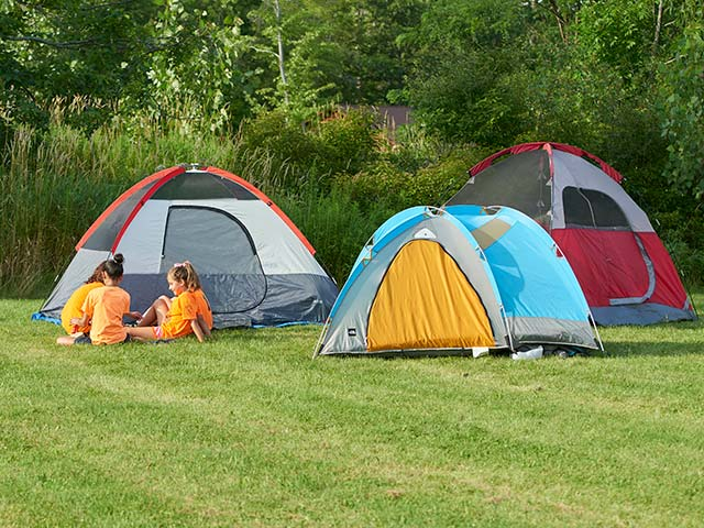 Camping in tents at Hiram House Camp