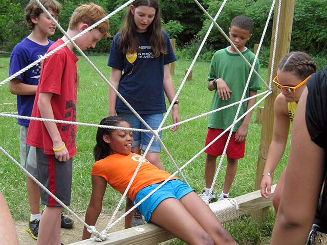 Hiram House campers playing outside activities