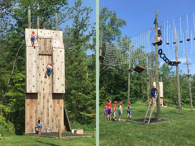 Hiram House Summer Camp climbing wall and obstacle course
